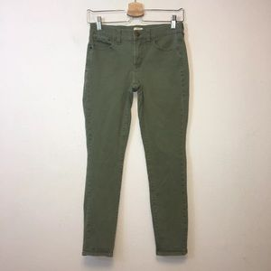 J Crew Green Mid Rise Skinny Ankle Jeans